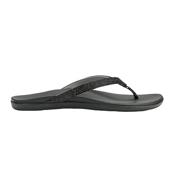 OluKai Hoopio Womens Flip Flops, Black Honu-Charcoal, medium