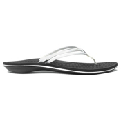 OluKai Unahi Womens Flip Flops, White-Black, medium