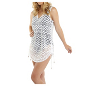 Dotti Chic Chevron Tunic Bathing Suit Cover Up, White, medium