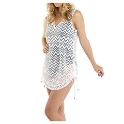 Dotti Chic Chevron Tunic Bathing Suit Cover Up, White, 256