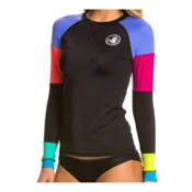 Body Glove Borderline Horizon Womens Rash Guard, Black, medium