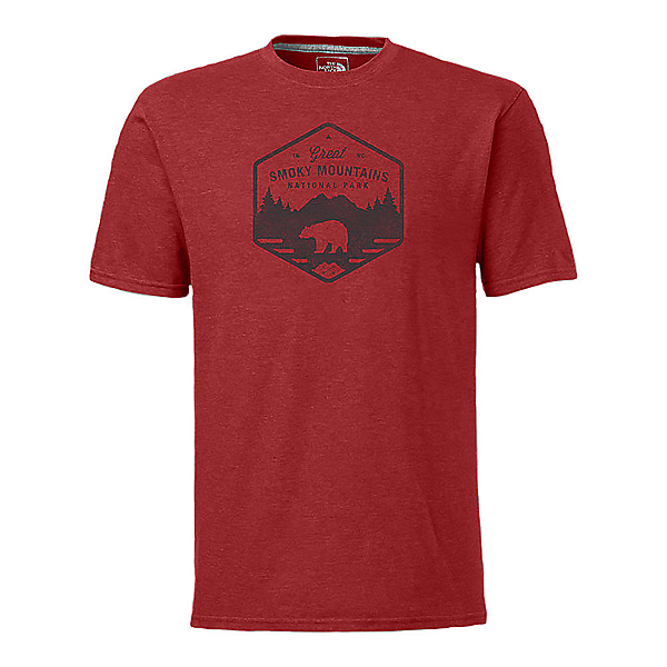 The North Face Men's S/S National Parks Mens T-Shirt, Pompeian Red Heather, 600
