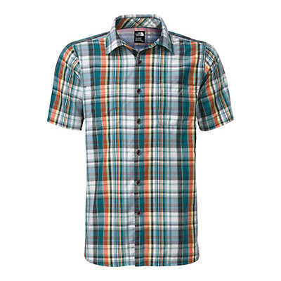 The North Face Men's S/S Solar Plaid Shirt, Blue Coral-Asphalt Grey Plaid, viewer