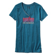 Patagonia Linear Fractures Womens T-Shirt, Underwater Blue, medium