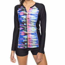 Next Turn Up The Tempo Long Sleeve Shirt Bathing Suit Top, Multi, 256