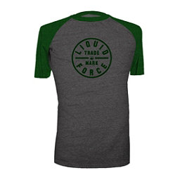 Liquid Force Badge Mens T-Shirt, Dark Grey Heather-Forest Green, 256
