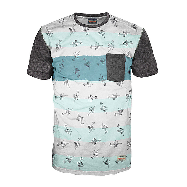 Liquid Force LF Palm Stripe Mens T-Shirt, All Over Lf Palm, 600