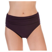 Magicsuit Jersey Shirred Brief Solid Bathing Suit Bottoms, Fig, medium