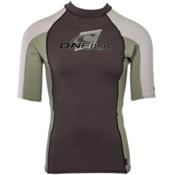 O'Neill Skins S/S Crew Mens Rash Guard, Graphite-Light Olive-Lunar, medium