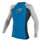 O'Neill Skins Long Sleeve Crew Mens Rash Guard, Brite Blue-Black-Lunar, medium