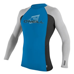 O'Neill Skins Long Sleeve Crew Mens Rash Guard, Brite Blue-Black-Lunar, 256