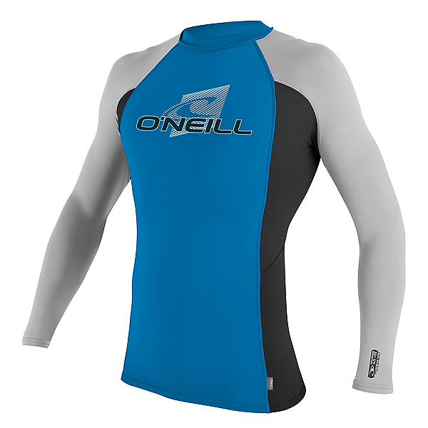 O'Neill Skins Long Sleeve Crew Mens Rash Guard, Brite Blue-Black-Lunar, 600