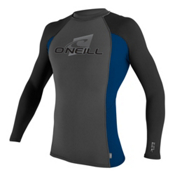 O'Neill Skins Long Sleeve Crew Mens Rash Guard, Graphite-Deep Sea-Black, medium