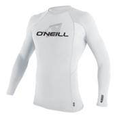 O'Neill Skins Long Sleeve Crew Mens Rash Guard, White-White-White, medium