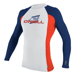O'Neill Skins Long Sleeve Crew Mens Rash Guard, White-Neon Red-Navy, 256