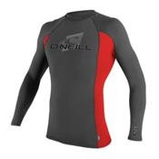 O'Neill Skins Long Sleeve Crew Mens Rash Guard, Graphite-Red-Graphite, medium