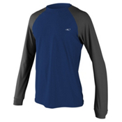 O'Neill 24-7 Tech Long Sleeve Crew Mens Rash Guard, Navy-Graphite-Graphite, medium