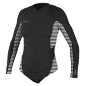 O'Neill SuperLite Hi-Cut Long Sleeve Womens Rash Guard, Black-Rio Stripe-Black, medium