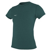 O'Neill 24-7 Hybrid Short Sleeve Tee Womens Rash Guard, Deep Teal, medium
