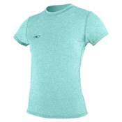 O'Neill 24-7 Hybrid Short Sleeve Tee Womens Rash Guard, Seaglass, medium