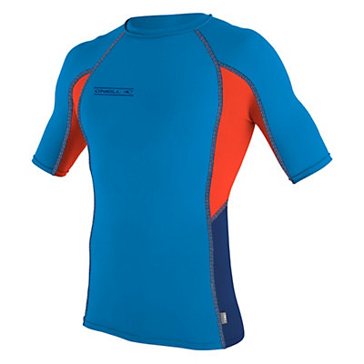 O'Neill Skins Graphic Short Sleeve Mens Rash Guard, Brite Blue-Neon Red-Navy, viewer