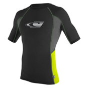 O'Neill Skins Graphic Short Sleeve Mens Rash Guard, Black-Graphite-Lime, medium