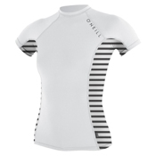 O'Neill Side Print Short Sleeve Crew Womens Rash Guard, White-Rio Stripe, medium