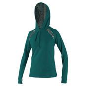 O'Neill Skins Long Sleeve Print Hoodie Womens Rash Guard, Deep Teal-Maya, medium