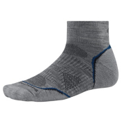 SmartWool PhD Outdoor Light Mini Mens Socks, Light Gray-Navy, medium