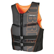 O'Brien Flex V-Back Neoprene Adult Life Vest 2016, Black-Orange, medium