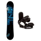 Joyride Text Blue Stealth Kids Snowboard and Binding Package, , medium