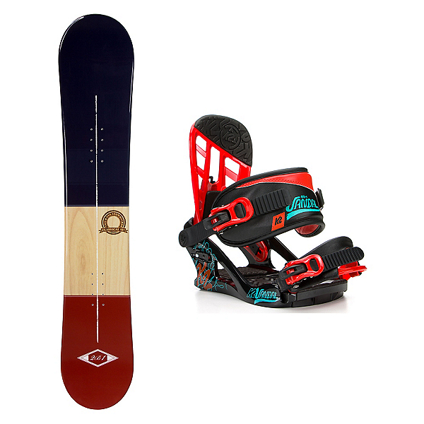 2B1 Classical Blue Stealth Kids Snowboard and Binding Package, , 600