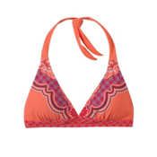 Prana Lahari Halter Bathing Suit Top, Neon Orange Jasmine, medium