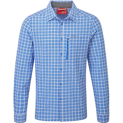 Craghoppers NosiLife Albert Long Sleeved Shirt, Sport Blue Check, viewer