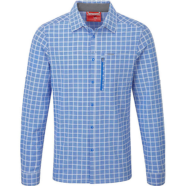 Craghoppers NosiLife Albert Long Sleeved Mens Shirt, Sport Blue Check, 600
