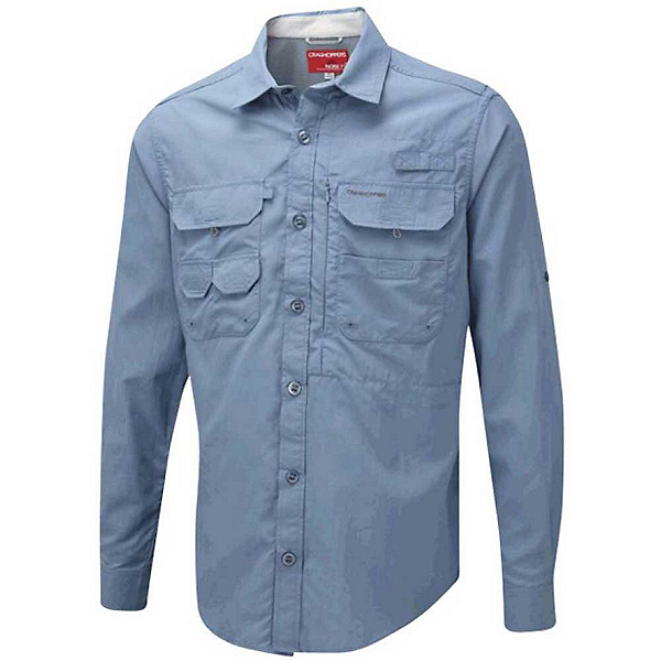 Craghoppers NosiLife Long Sleeved Angler Mens Shirt, Blue Mist, 600