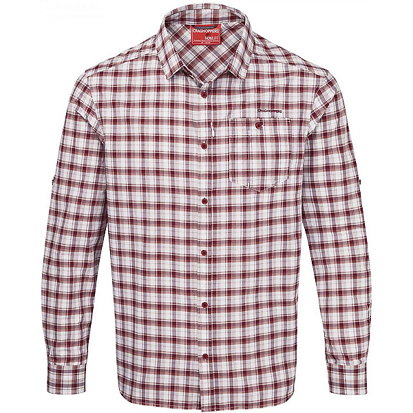 Craghoppers NosiLife Tristan Long Sleeved Mens Shirt, Brick Red Check, 600