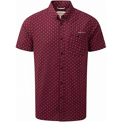 Craghoppers Edmond Short Sleeved Mens Shirt, Brick Red Dobby, viewer