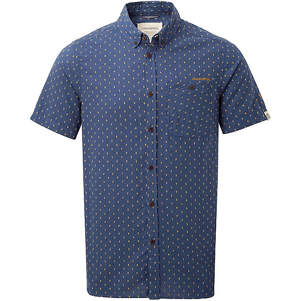 Craghoppers Edmond Short Sleeved Mens Shirt, Dusk Blue Dobby, 600