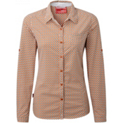 Craghoppers NosiLife Olive Long Sleeved Womens Shirt, Desert Orange Combo, medium