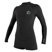 O'Neill Bahia Long Sleeve Short Spring Womens Shorty Wetsuit 2016, Black, medium