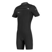 O'Neill HyperFreak Full Zip Short Sleeve Shorty Wetsuit 2016, Black-Black-Deep Sea, medium