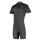O'Neill HyperFreak Full Zip Short Sleeve Shorty Wetsuit 2016, Graphite-Black-Neon Red, medium