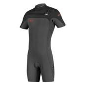 O'Neill HyperFreak Full Zip Short Sleeve Shorty Wetsuit 2016, Graphite-Black-Neon Red, medium