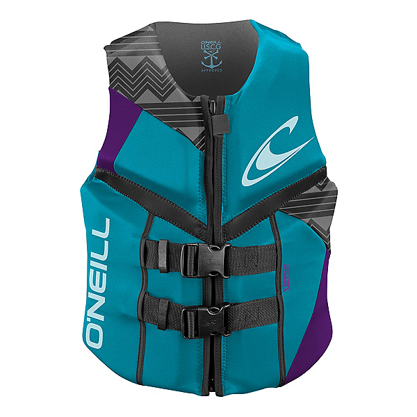 O'Neill Reactor USCG Womens Life Vest 2017, Turquoise-Ultraviolet-Graphite, 600