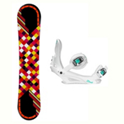 Joyride Checkers Black Solstice 4 Womens Snowboard and Binding Package, , medium