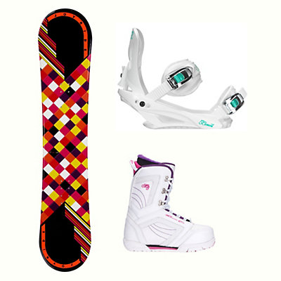 Joyride Checkers Black Cosmo Womens Complete Snowboard Package, , viewer