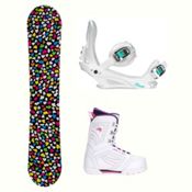 Joyride Hearts Black Cosmo Womens Complete Snowboard Package, , medium
