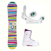2B1 Paint White Cosmo Womens Complete Snowboard Package, , medium