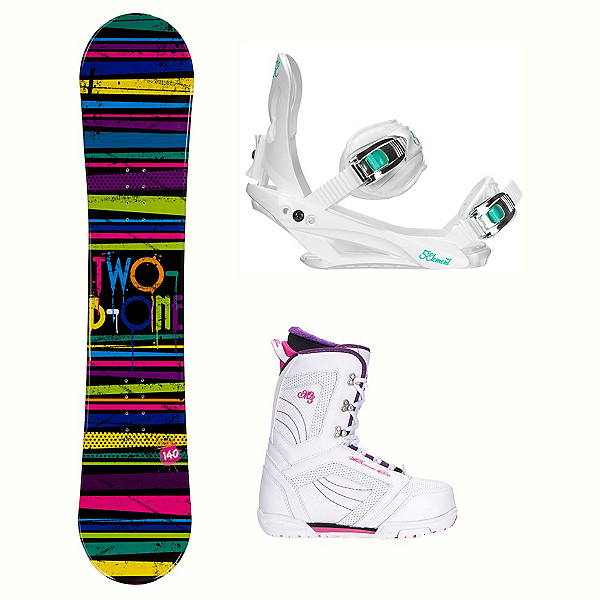 2B1 Paint Black Cosmo Womens Complete Snowboard Package, , 600